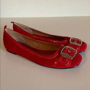 Women's Steve Madden Red with a buckle Suede flats